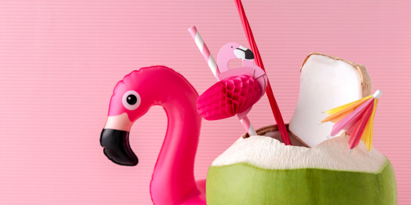 Image of Inflatable Flamingo and Coconut Water